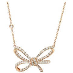 18 Karat Rose Gold and White Diamonds Bow Pendant