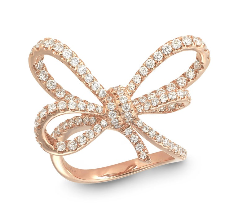 Women's 18 Karat Rose Gold and White Diamonds Cocktail Ring and Pendant For Sale