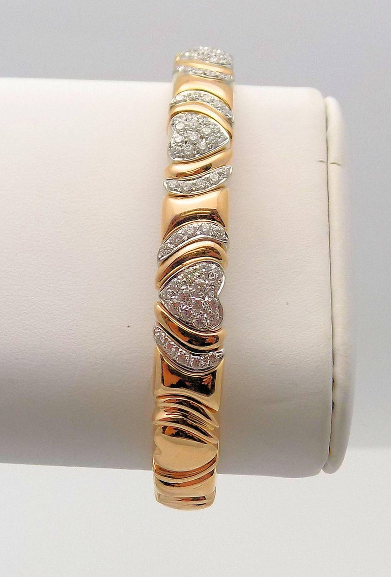 18 Karat Rose Gold and White Gold Diamond Cuff Bracelet, Heart Motif For Sale 4