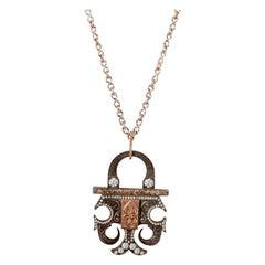 18 Karat Rose Gold Antique Padlock Necklace with 1.14 Carat White Diamonds