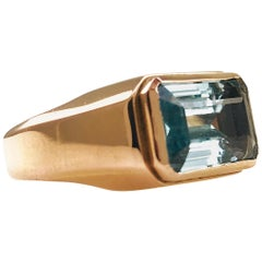 18 Karat Rose Gold Aquamarine Ring, 7.5 Carat