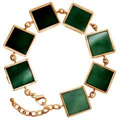 18 Karat Rose Gold Art Deco Bracelet with Dark Green Quartzes, Featured in Vogue