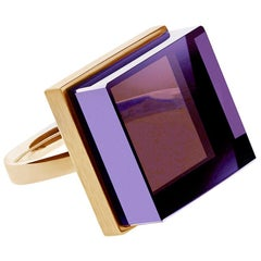 18 Karat Rose Gold Art Deco Style Men Ring with Amethyst, Featured in Vogue