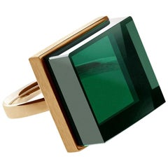 18 Karat Rose Gold Art Deco Men Ring with Green Quartz, Featured in Vogue