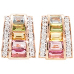 18 Karat Rose Gold Art Deco Style Tourmaline Citrine Peridot Topaz Ear-Clips