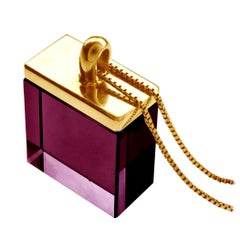 18 Karat Rose Gold Art Deco Pendant Necklace with Amethyst