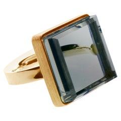 18 Karat Rose Gold Art Deco Ring with Blue Quartz, Featured in Vogue
