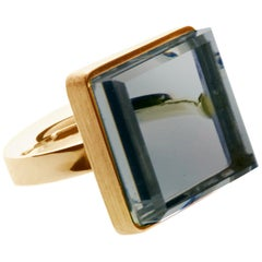 18 Karat Rose Gold Art Deco Ring with Chalcedony, Featured in Vogue