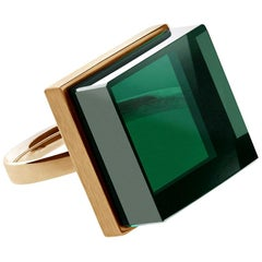 18 Karat Rose Gold Art Deco Ring with Green Quartz, Featured in Vogue