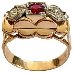 18 Karat Rose Gold Art Deco Ring with Ruby and Diamonds, Belgium, 1930