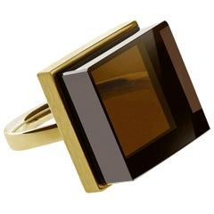 18 Karat Rose Gold Art Deco Style Ring with Smoky Quartz, Featured in Vogue