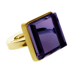 18 Karat Rose Gold Art Deco Style Ring with Amethyst, Featured in Vogue
