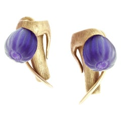 18 Karat Rose Gold Art Nouveau Cocktail Fig Earrings with Amethysts