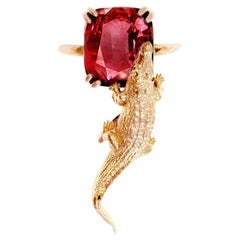 18 Karat Rose Gold Artist Ring with 6.41 Cts. Perfect Malaia Garnet