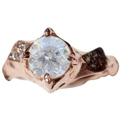 18 Karat Rose Gold Asymmetrical White Diamond Ring