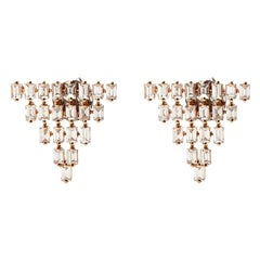 18 Karat Rose Gold Baguette 5-Row Triangle Earrings