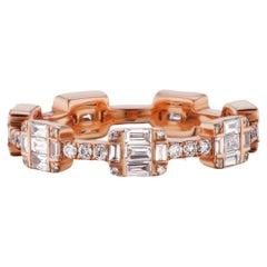 18 Karat Rose Gold Baguette and Round Diamond Station Ring