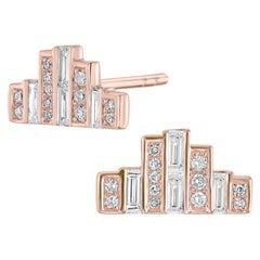 18 Karat Rose Gold Baguette Diamond Bar Stud Earring