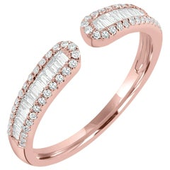18 Karat Rose Gold Baguette Diamond Cuff Ring