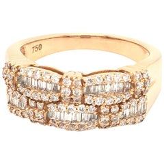 18 Karat Rose Gold Baguettes Diamonds Half Band Ring Made in Italy