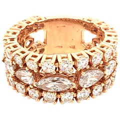 18 Karat Rose Gold Band Ring with Diamonds Made in Italy with Box