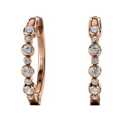 18 Karat Rose Gold Bezel Hoop Diamond Earrings '1/3 Carat'
