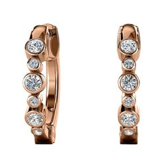 18 Karat Rose Gold Bezel Hoop Diamond Earrings '1/4 Carat'