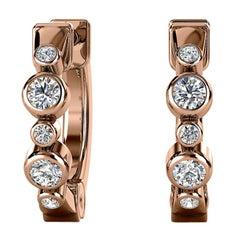 18 Karat Rose Gold Bezel Hoop Diamond Earrings '1/6 Carat'
