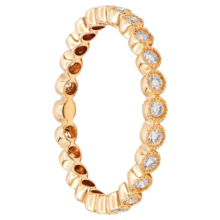 18 Karat Rose Gold Bezel Set Eternity Ring For Sale