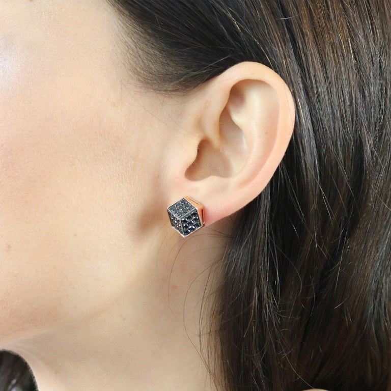 Contemporary Paolo Costagli 18 Karat Rose Gold Black Diamond Stud Earrings For Sale