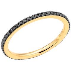 18 Karat Rose Gold Black Diamond 1.3 Millimeter Eternity Band Ring Size 10