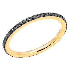18 Karat Rose Gold Black Diamond Prong Set Blacken 1.3 Millimeter Eternity Ring