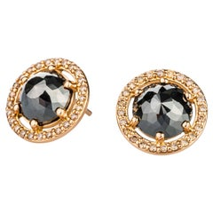 18 Karat Rose Gold Black Diamond Studs with Champagne Diamond Halo