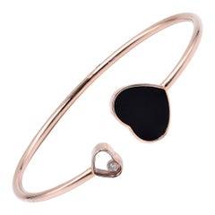 18 Karat Rose Gold Black Onyx Heart and Floating Diamond Cuff Bracelet
