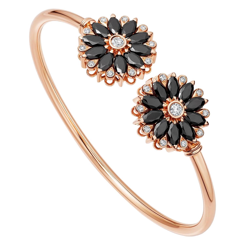 18 Karat Rose Gold Black Spinels and Diamonds Dalia Bangle by Niquesa