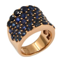 18 Karat Rose Gold Blue Sapphires Garavelli Saddle Ring