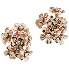 18 Karat Rose Gold Bouquet Earrings with Diamonds