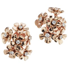 18 Karat Rose Gold Bouquet Earrings with Diamonds