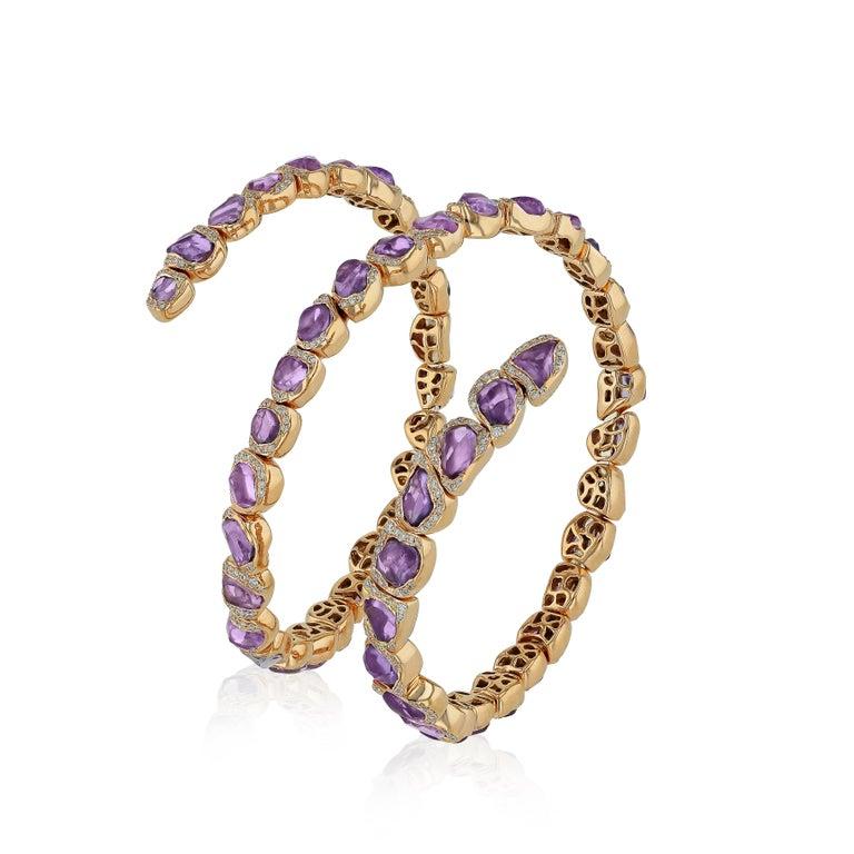 Arts and Crafts 18 Karat Rose Gold Bracelet with Pink Sapphires For Sale
