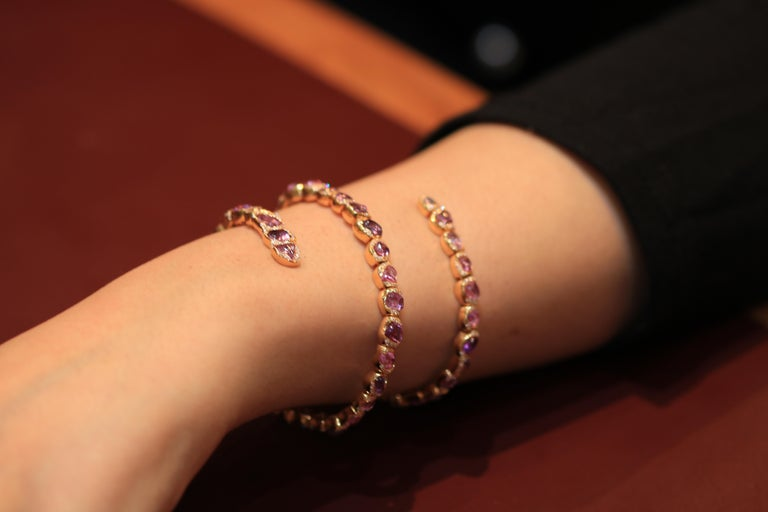 Women's 18 Karat Rose Gold Bracelet with Pink Sapphires For Sale