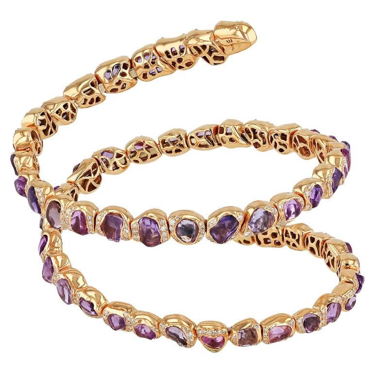 18 Karat Rose Gold Bracelet with Pink Sapphires For Sale