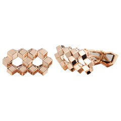 18 Karat Rose Gold Brillante Cufflink Set, Petite