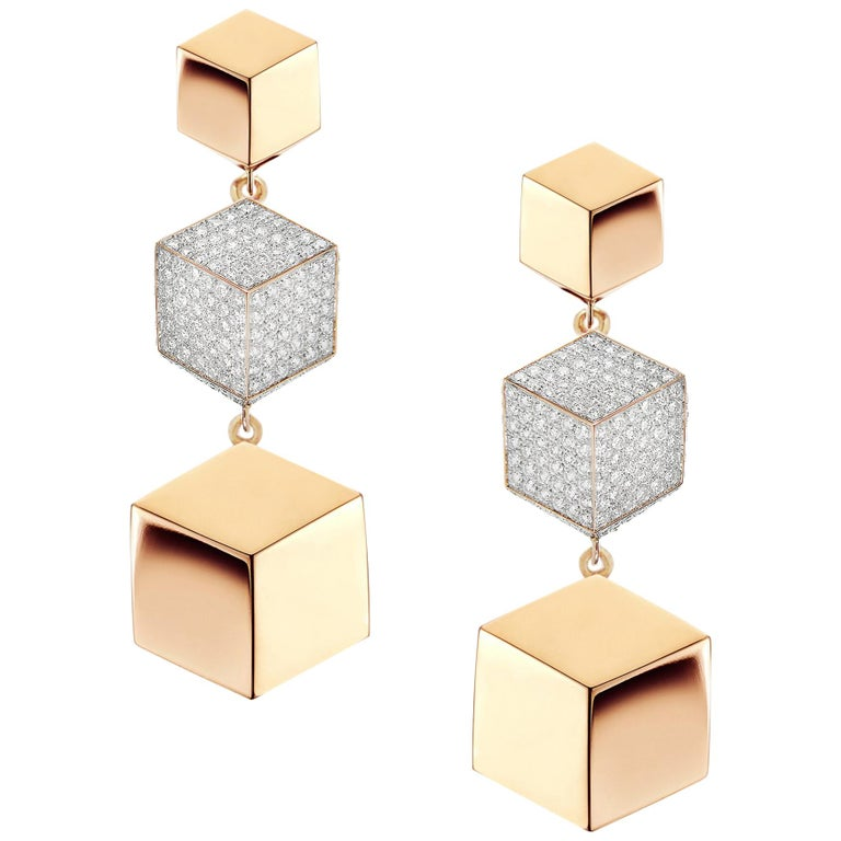 18 Karat Rose Gold Brillante Earrings with Diamonds, 0.89 Carat For Sale
