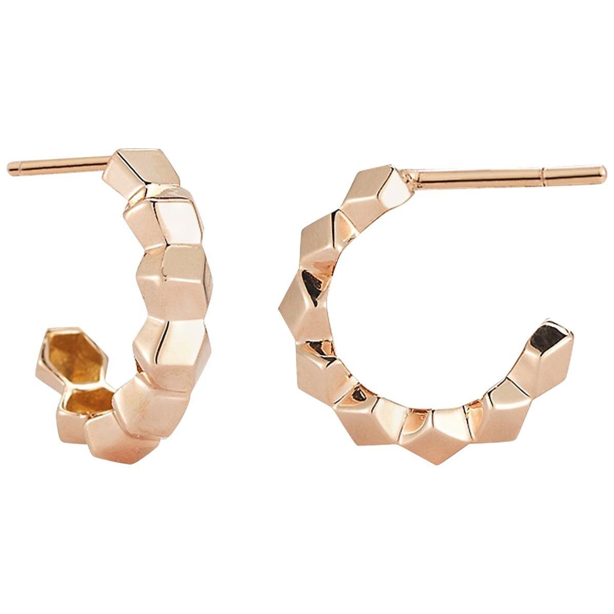 Paolo Costagli 18 Karat Rose Gold Brillante Hoop Earrings, Petite