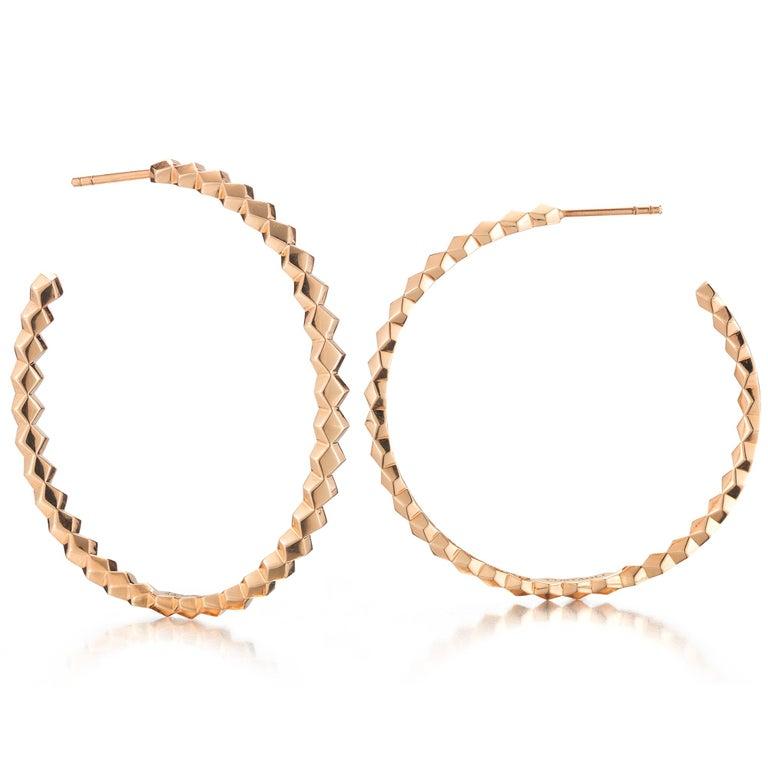 Contemporary Paolo Costagli 18 Karat Rose Gold Brillante Hoops, Grande