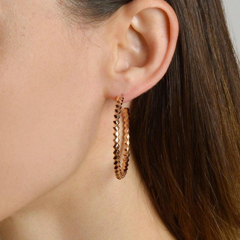 Paolo Costagli 18 Karat Rose Gold Brillante Hoops, Grande In New Condition In Miami beach, FL