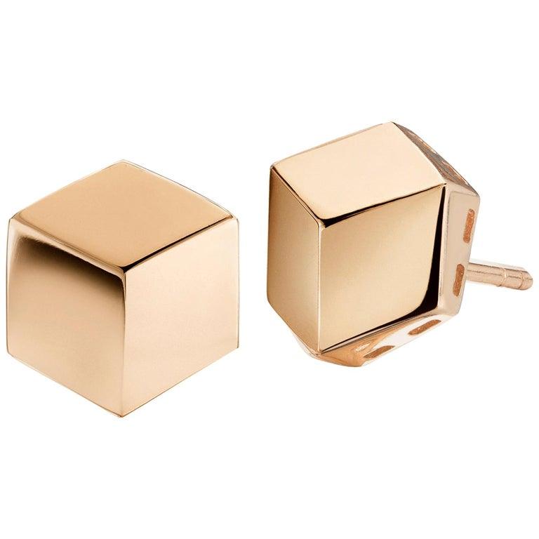 Paolo Costagli 18 Karat Rose Gold Brillante Stud Earrings, Grande For Sale