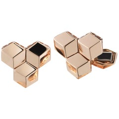 18 Karat Rose Gold Brillante Trillion Cufflink Set