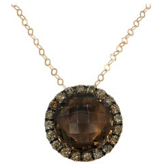 18 Karat Rose Gold Brown Diamond Smoky Quartz Round Pendant