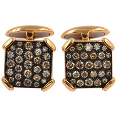 18 Karat Rose Gold Brown Diamonds Garavelli Cufflinks